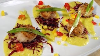 Pan Seared Scallops With Mango And Horseradish
