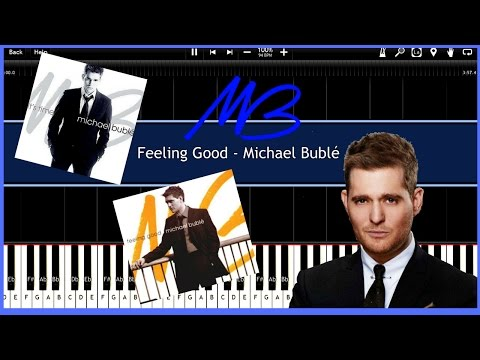 Feeling Good - Michael Bublé (Synthesia) [Tutorial] [Instrumental Video] [Download]