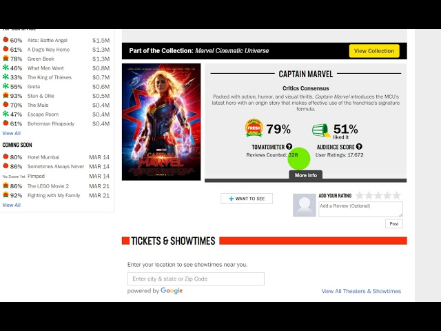 Rotten Tomatoes deletes 40,000 negative user reviews of Captain Marvel