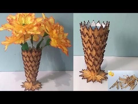 DIY    Cara Membuat Vas Bunga Dari Korek Api Kayu    Creative Idea From Matchstick