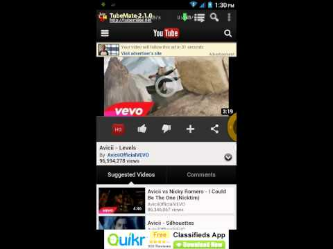 Free youtube downloader - Android - Tubemate 2.1.0 - video review