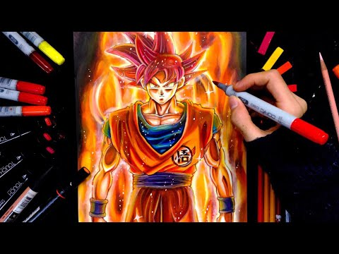Drawing Goku Super Saiyan GOD