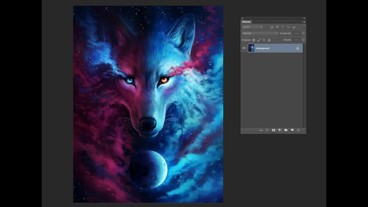 Speedpainting  Where Light And Dark Meet  Galaxy Wolf Drawing In Photoshop   Time Lapse