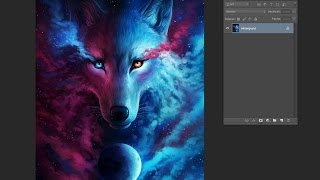 Speedpainting - Where Light and Dark Meet - Galaxy Wolf Drawing in Photoshop - Time Lapse