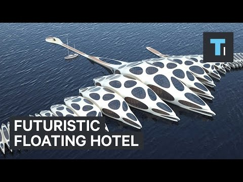 Floating futuristic hotel