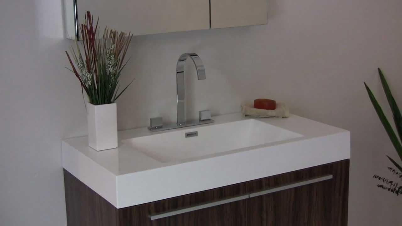 fresca vista walnut modern bathroom vanity w white acrylic sink countertop fvn8090gw