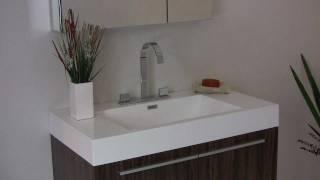Fresca Vista Walnut Modern Bathroom Vanity W/ White Acrylic Sink & Countertop - Fvn8090gw