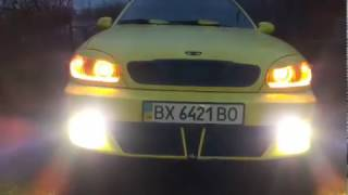 Daewoo Lanos vs Crystal LED strip daylight DRL with yellow moving