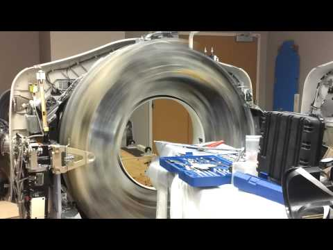 Inside a ct scanner while it is spinning