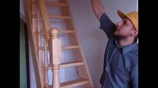 Деревянная Лестница на второй этаж,покраска в естественный цвет.(Вы можете даже в маленьком проеме сделать очень симпатичную лестницу на второй этаж.Смотрите как это сдела..., 2014-08-29T06:36:35.000Z)