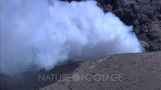 aerial view of steam venting from active volcano Mt. St. Augustine Alaska