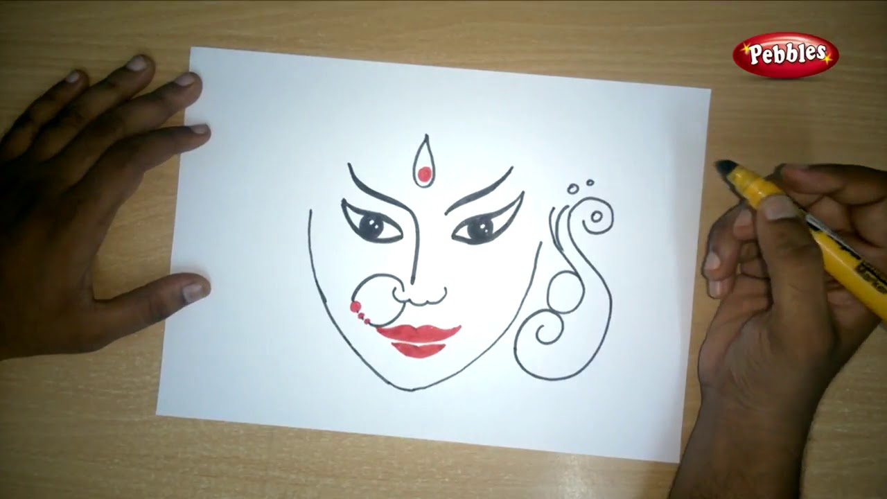 Uncategorized Videos Of Drawing easy durga drawing navratri special kids learning videos puja for bobby