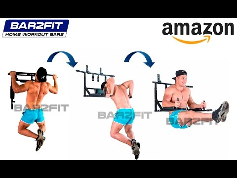 Wall Mounted Pull Up Bar - Chin Up Bar With Dip Bars - Up To 200kg - Workout Crossfit Fitness