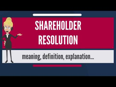 What is SHAREHOLDER RESOLUTION? What does SHAREHOLDER RESOLUTION mean?
