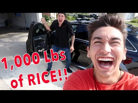 PUTTING 1,000 POUNDS OF RICE IN MY BROTHERS CAR!! *PRANK GONE WRONG*