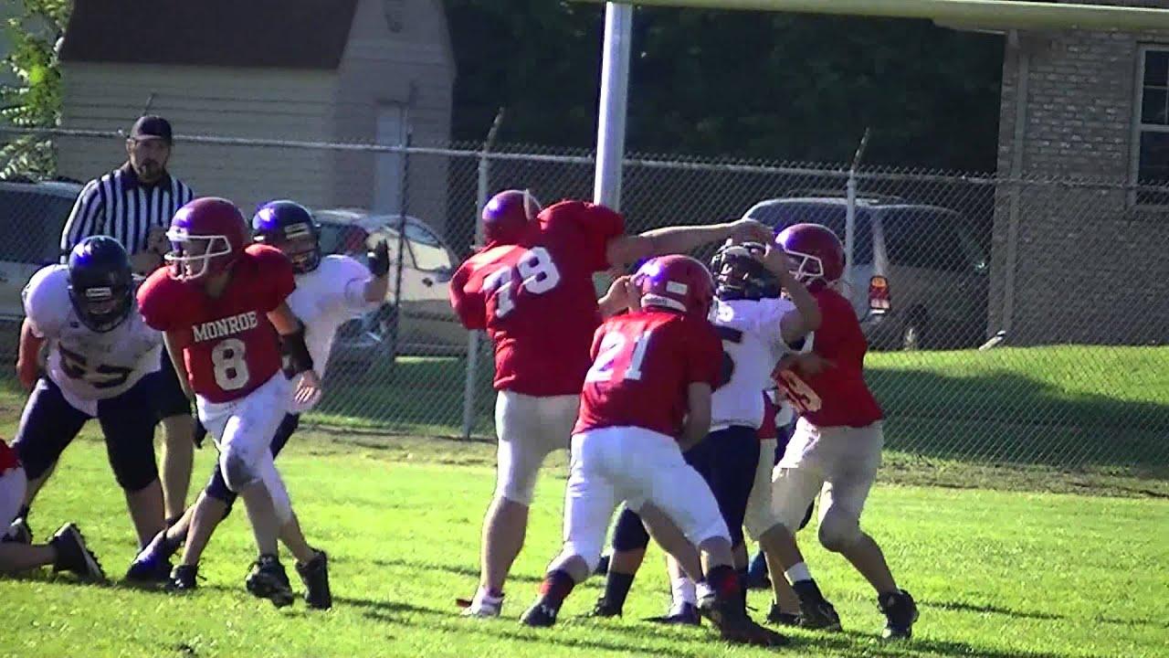 Pj Brown 78 at blocking back Monroe Trojan Football