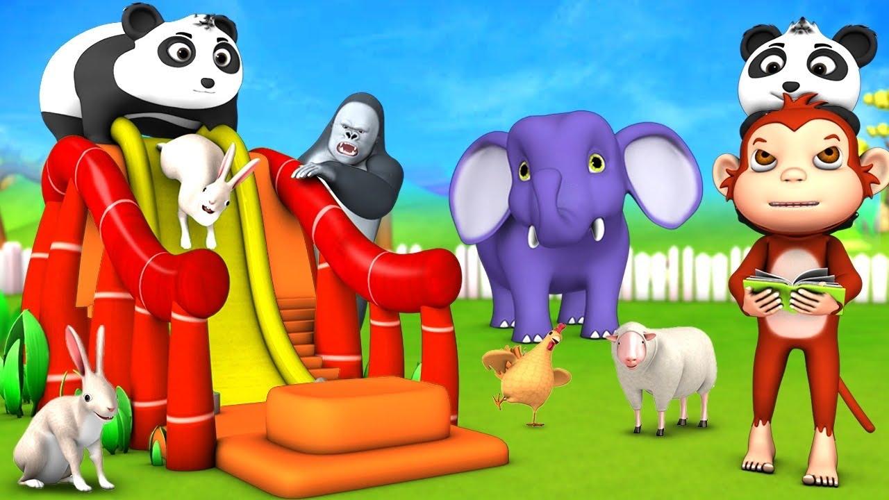 Giant Panda Slider Ride with Funny Elephant & Gorilla - Monkey Teacher Comedy Animal Cartoons Videos