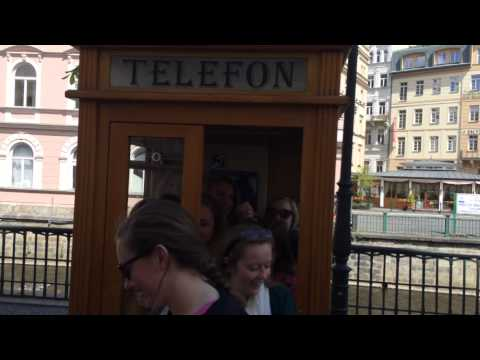 Ten girls in a Telephone box in Carlsbad (Czech Republic) 2015