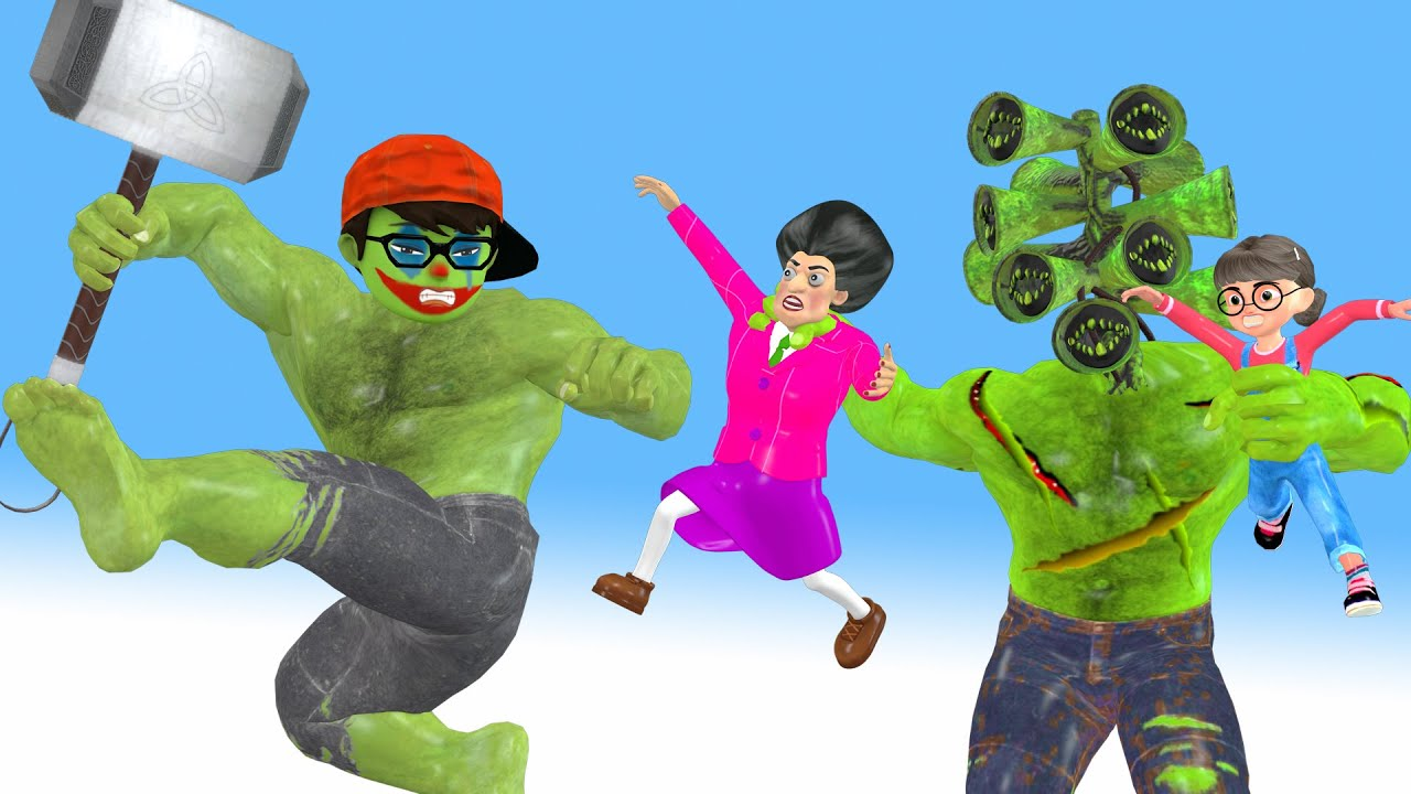 Scary teacher 3d superheroes Nickhulk vs Giant zombie siren head  and Hello Neighbor & Miss T gaming