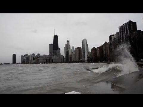 Big waves along Chicago's lakefront