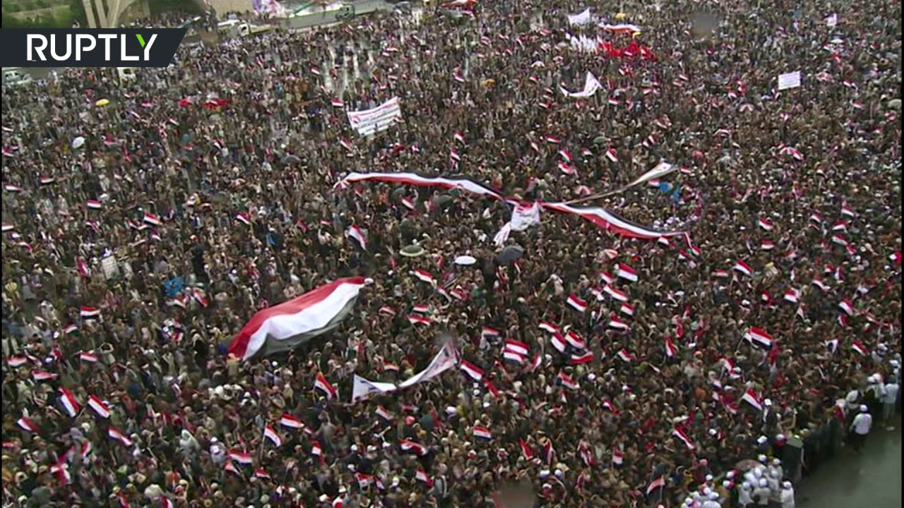 Thousands rally in Sanaa, Yemen against Saudi-led airstrikes