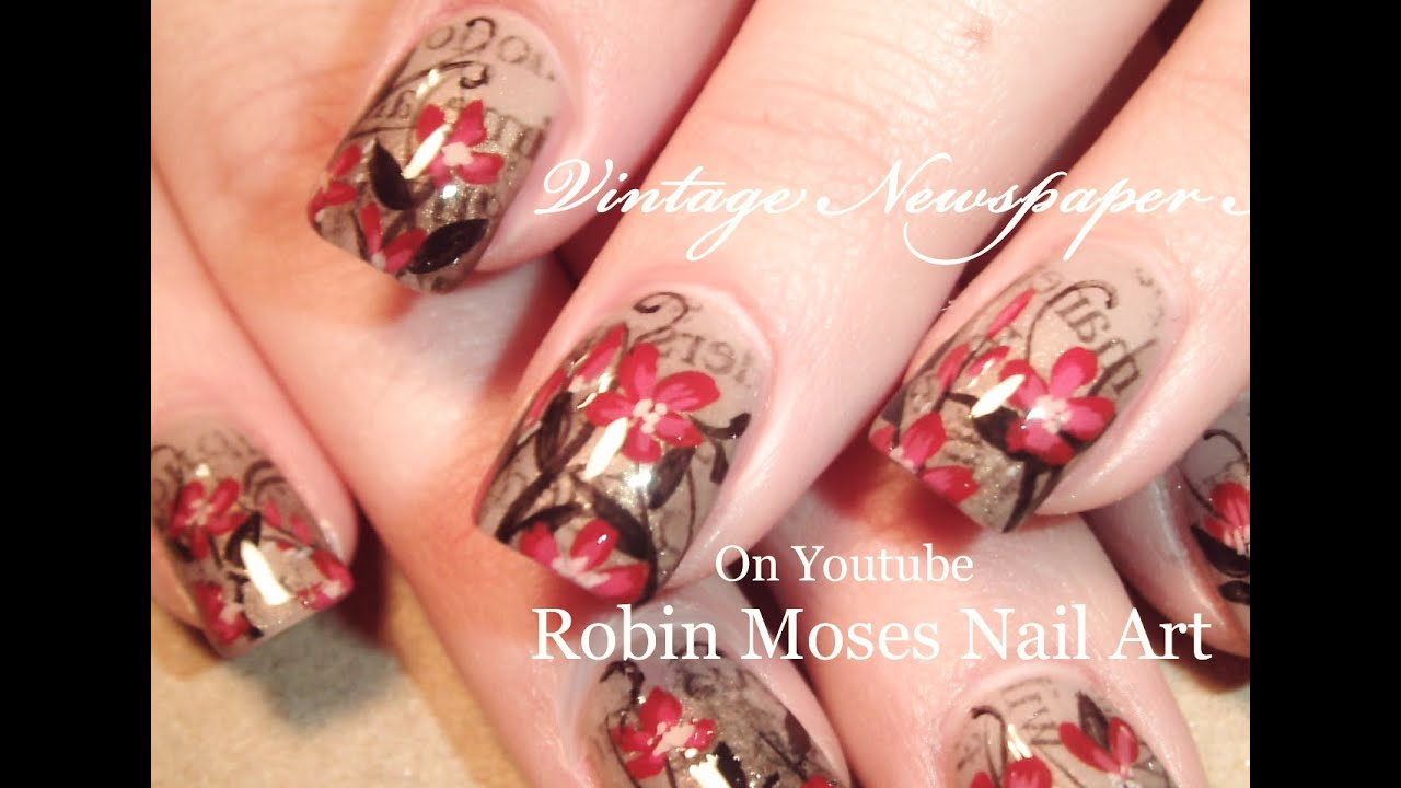 Vintage Newspaper Nails | Red Flowers Nail Art Design Tutorial - YouTube