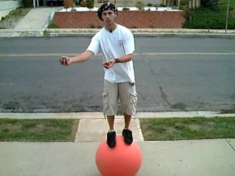 Free Balling juggling while balancing on a ball  YouTube