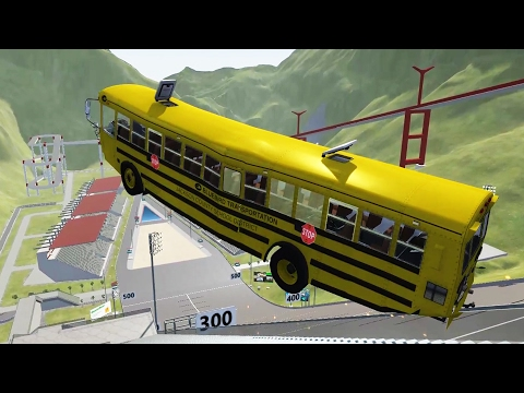 School Bus Crashes, High Speed Head On Collisions - BeamNG D