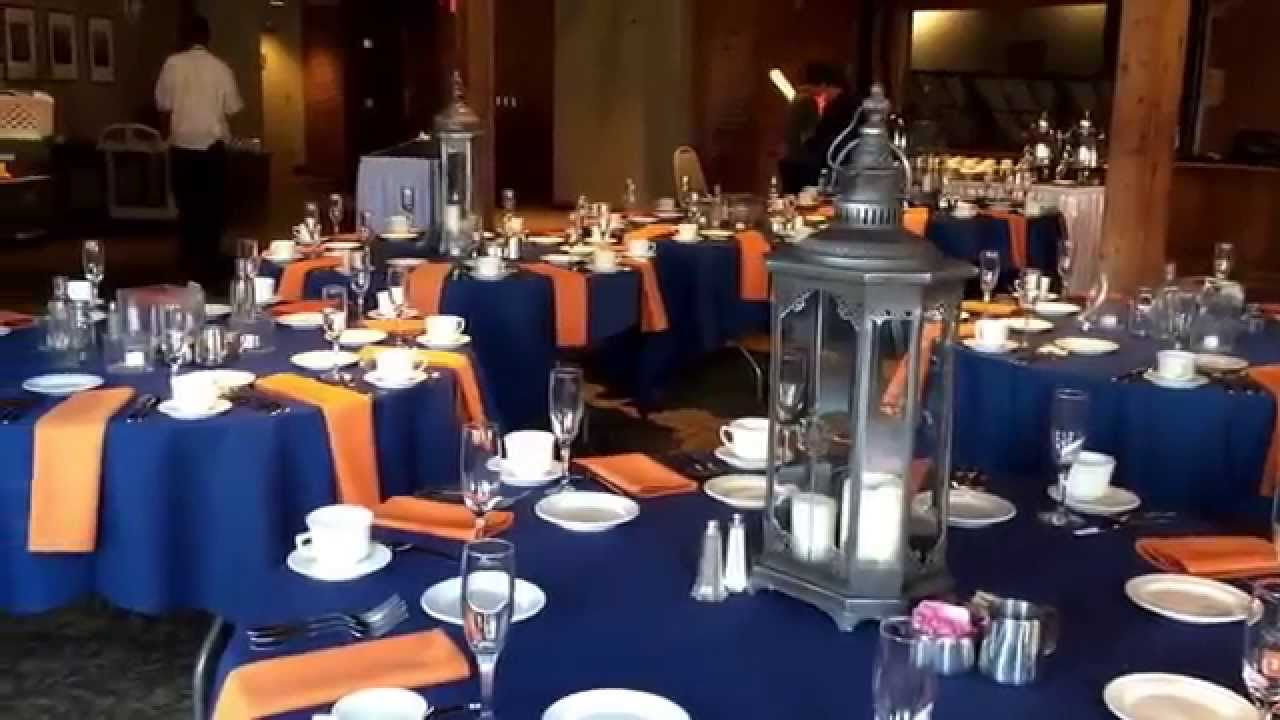Navy And Burnt Orange With Silver Accents In The Cityview Room At Windows On River