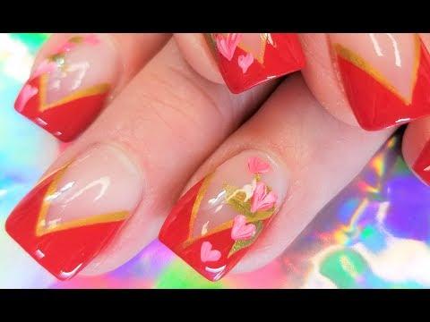 Easy Valentine Nails | Romantic Pink Heart Nail Art Design