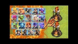 Max Level Inferno Tower Vs All Max Level Troops COC