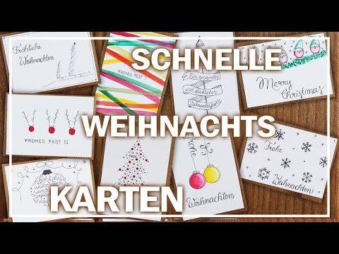 Schnelle Weihnachtskarten Basteln.Weihnachtskarten Diy 9 Einfache Designs Last Minute Youtube