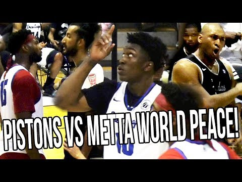 Stanley Johnson Andre Drummond & Frank Kaminsky VS Metta World Peace! Drummond HEATED STAREDOWN!