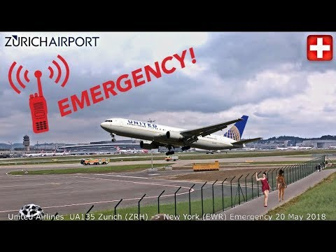 Emergency United Airlines UA135 Zurich - New York EWR + ATC