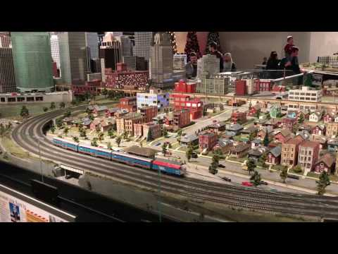 HUGE Train Set At Museum of Science and Industry Chicago Illinois HO Scale With Christmas Trees
