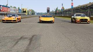 Chevrolet Corvette C7 ZR1 vs Ford Mustang Shelby '20 vs Huracan Performante at Monza Full Course 196