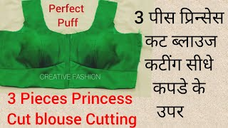 Three Pieces Princess cut Blouse  cutting  on Fabric.very easy way.