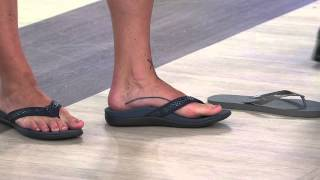 Vionic w/ Orthaheel Leather Thong Sandals - Tide Snake with Shawn Killinger