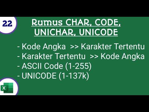 Fungsi CHAR, CODE, UNICHAR, UNICODE di Microsoft Excel