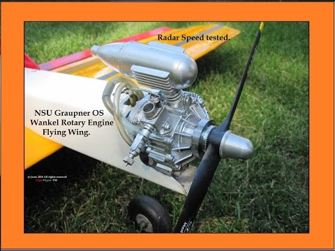 Graupner NSU OS Wankel rotary engine Flying wing.