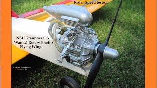 Graupner NSU OS Wankel rotary engine Flying wing.