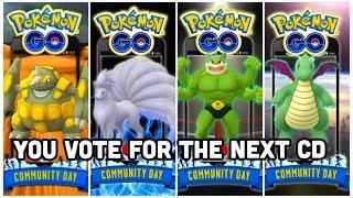 Community Day has changed in Pokemon GO   We now vote   Rhyhorn, Machop, Vulpix or Dratini