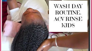 Wash Day Routine |  Curly Hair Kids | ACV Rinse