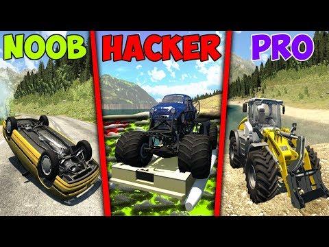 NOOB Vs PRO Vs HACKER Crashes #10 - BeamNG Drive (Crashes & Stunts)