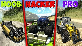 NOOB vs PRO vs HACKER crashes #10 - BeamNG Drive (Crashes & Stunts)