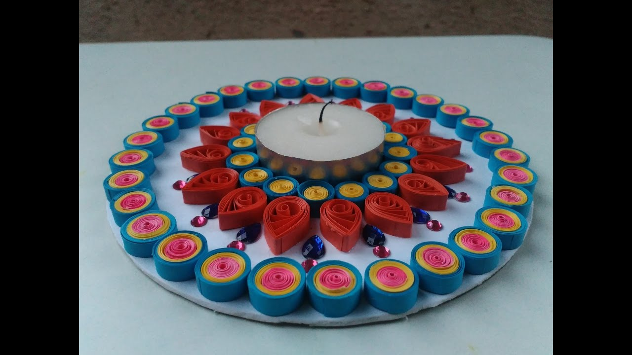 How to make easy quilling design of diya with the help of for Diya decoration youtube