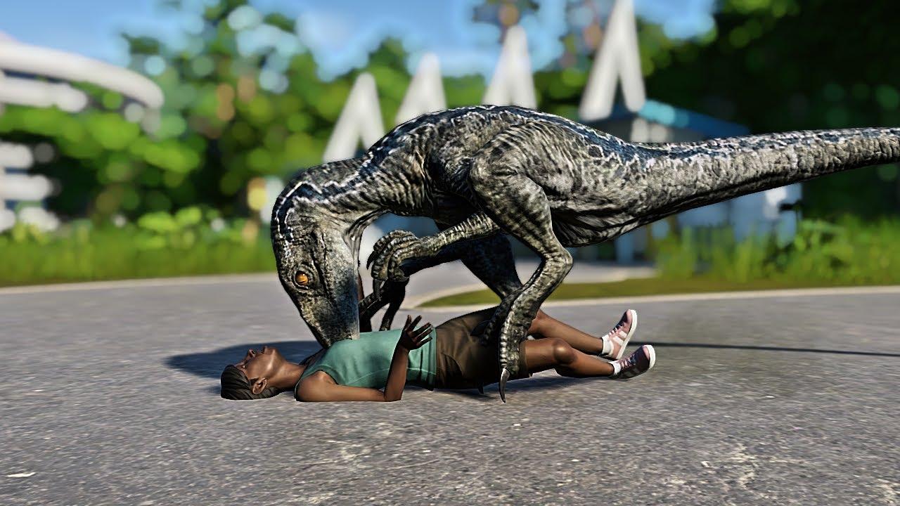 Blue Raptor Massacre visitors vs T-Rex - Jurassic World Evolution