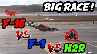 Video Kawasaki  H2R vs F-16 vs F1 ! download MP3, 3GP, MP4, WEBM, AVI, FLV November 2019