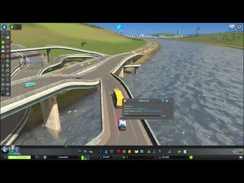 Cities: Skylines Mass Transit, Police Weaving Through Traffic
