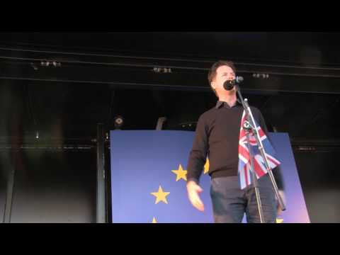 Nick Clegg speaking on stage at United for Europe